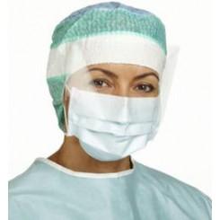 Maske, blå, dugfri, visir, øreelastik, IIR, 15x26 cm