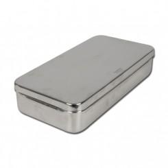 Instrumentæske med låg, grå, rustfrit stål, 17 x 7 x 3 cm