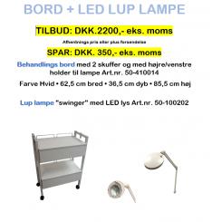 Bord + LED lup lampe/Pinse tilbud