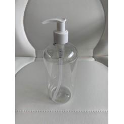Flaske med pumpe 500 ml. klar plastik